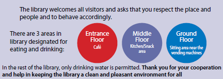 There are 3 areas in the library designated for eating and drinking